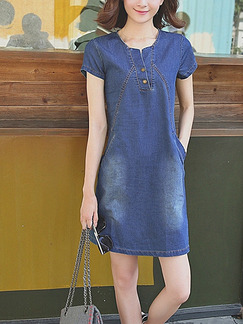 Dark Blue Slim Denim Above Knee Shift Plus Size Dress for Casual Party