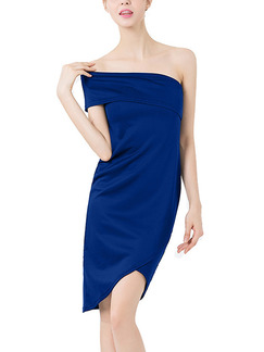 Navy Blue Slim Off-Shoulder Over-Hip Above Knee  Dress for Party Evening Cocktail