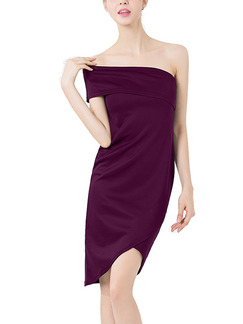 Wine Red Slim Off-Shoulder Over-Hip Above Knee  Dress for Party Evening Cocktail