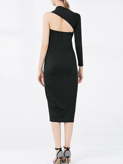 Black Slim Single Arm Over-Hip Midi Long Sleeve Dress for Party Evening Cocktail