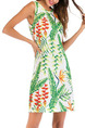 Colorful Slim Printed Above Knee Tropical Dress for Casual Party Beach