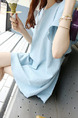 Blue Loose Band Belt Back Above Knee Shift Dress for Casual Party