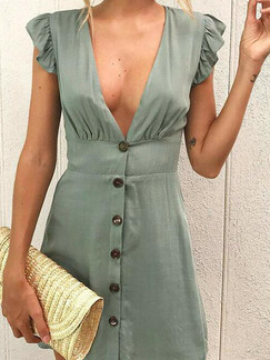 Dark Green Slim V Neck Buttons Above Knee V Neck Dress for Casual Party Nightclub
