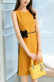 Yellow and Black Slim Contrast Linking Above Knee Dress for Casual Party