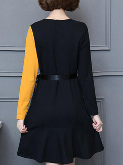 Black and Yellow Slim Contrast Above Knee Long Sleeve V Neck Plus Size Dress for Casual Party Office