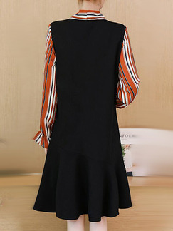 Black Orange and White Loose Linking Stripe Above Knee Long Sleeve Plus Size Dress for Casual Office
