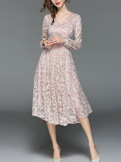 Pink Slim Lace Floral Midi V Neck Fit & Flare Long Sleeve Dress for Cocktail Party Evening