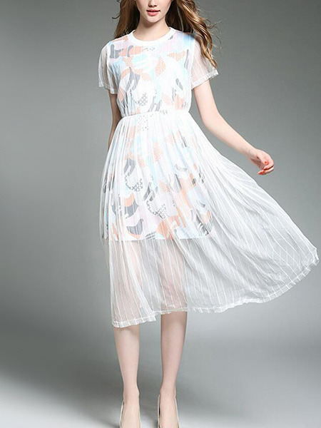 White Slim Printed Mesh See-Through Midi Dress for Casual Party