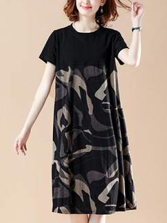 060a23280662 Black and Khaki Loose Linking Printed Midi Shift Dress for Casual Party