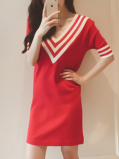23ccae6f0bec Red and White Loose Knitting Stripe Collar Above Knee Shift V Neck Dress  for Casual Party