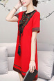 Red Slim Embroidery Printed Above Knee Shift Dress for Casual Party