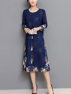 Navy Blue Loose Seem-Two Printed Furcal Midi Long Sleeve Floral Shift Dress for Casual Party Office
