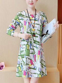 Green Colorful Slim Printed Above Knee Shift Plus Size Dress for Casual Party