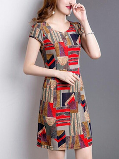 Colorful Slim Printed Above Knee Plus Size Dress for Casual Party