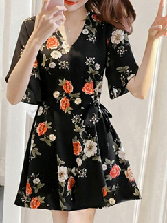 Black and Colorful Slim Printed Band Above Knee Floral V Neck Fit & Flare Plus Size Dress for Casual Party