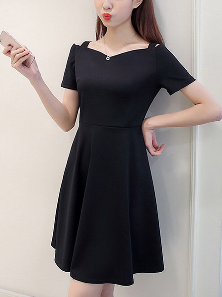 Black Slim Off-Shoulder Above Knee Fit & Flare Plus Size Dress for Casual Party Office