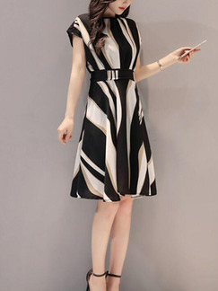 Black White and Khaki Slim Contrast High Waist Knee Length Plus Size Dress for Casual Party Office Evening