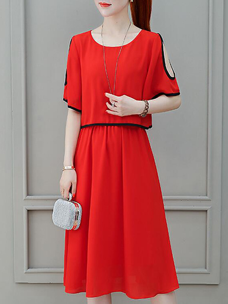 Red Loose Contrast Linking off-Shoulder Midi Fit & Flare Dress for Casual Party