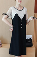 Black and White Slim Contrast Linking Lace Above Knee Shift Dress for Casual Party