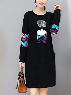 Black Loose Linking Embroidery Above Knee Shift Long Sleeve Dress for Casual