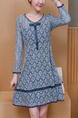 Blue Slim Plus Size Lace Contrast Linking Long Sleeve Above Knee Plus Size Fit & Flare Dress for Casual Party Office