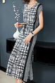 Black White and Gray Slim Contrast Linking Furcal Midi V Neck Dress for Casual Party Office
