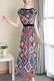 Colorful Slim Printed High Waist Maxi Plus Size Dress for Casual Party Evening