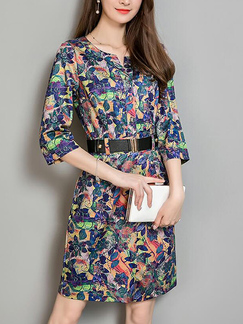 Colorful Slim Printed High Waist Above Knee Plus Size Dress for Casual Party