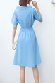 Blue Fit & Flare Knee Length Dress for Casual Party Evening