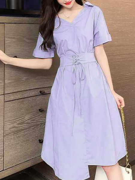 Purple Fit & Flare Knee Length Dress for Casual Party Evening
