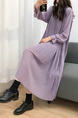 Purple Midi Long Sleeve Dress for Casual Party Evening