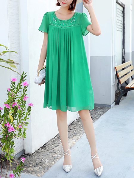 Green Shift Knee Length Plus Size Dress for Casual Party Office Evening
