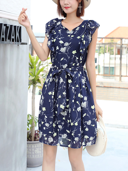 Blue and White Fit & Flare Above Knee Plus Size Floral Dress for Casual Party Beach