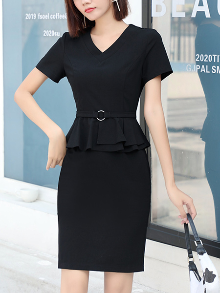 Black Sheath Above Knee V Neck Plus Size Dress for Casual Party Office