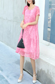 Pink Shift Midi Plus Size Dress for Casual Party Office Evening