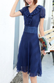 Blue Above Knee V Neck Fit & Flare Dress for Casual Party Office Evening