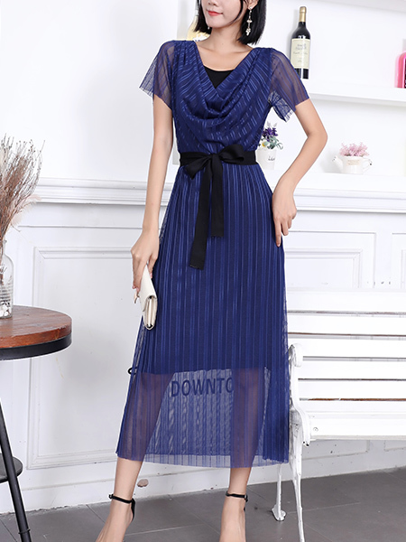 Blue Maxi V Neck Ribbon Dress for Party Evening Cocktail