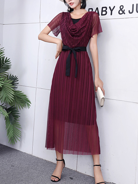 Red Maxi V Neck Ribbon Dress for Party Evening Cocktail