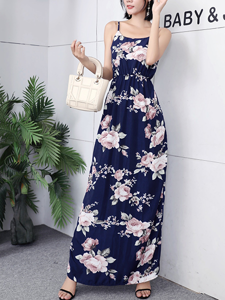 Blue Colorful Maxi Strap Floral Dress for Party Casual Beach
