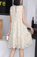 Beige Shift Above Knee Lace Dress for Casual Party Office Evening