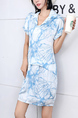 Blue and White Sheath Above Knee Plus Size Collared Dress for Casual Party Office