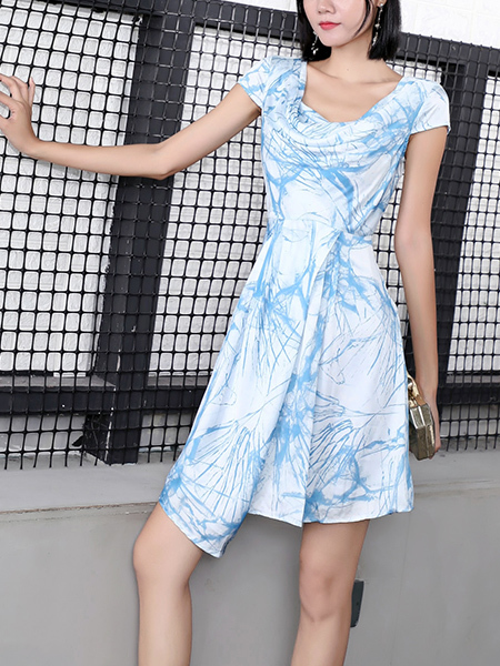 Blue and White Fit & Flare Above Knee Plus Size Dress for Casual Party Office