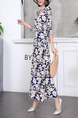 Blue and White Maxi Sheath V Neck Floral Plus Size Dress for Party Evening Cocktail