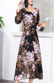 Black Pink Colorful Fit & Flare Floral Long Sleeve Midi Dress for Party Evening Cocktail