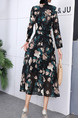 Black Colorful Floral Long Sleeve Fit & Flare Midi V Neck Dress for Party Evening Cocktail