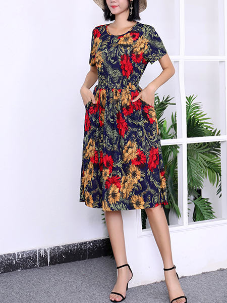 Blue Colorful Fit & Flare Floral Round Neck Midi Plus Size Dress for Casual Party Office