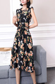Black Colorful Fit & Flare Knee Length Floral Dress for Casual Party Office Beach