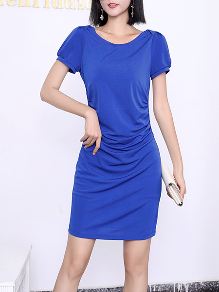 Blue Bodycon Above Knee Round Neck Plus Size Dress for Party Evening Cocktail