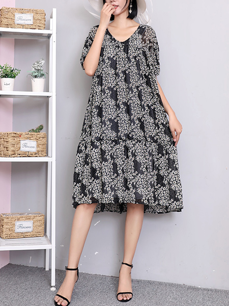 Black Two Piece Shift Knee Length Plus Size Dress for Casual Party