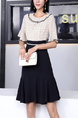 White and Black Fit & Flare Above Knee Plus Size Round Neck Dress for Casual Party Office Evening